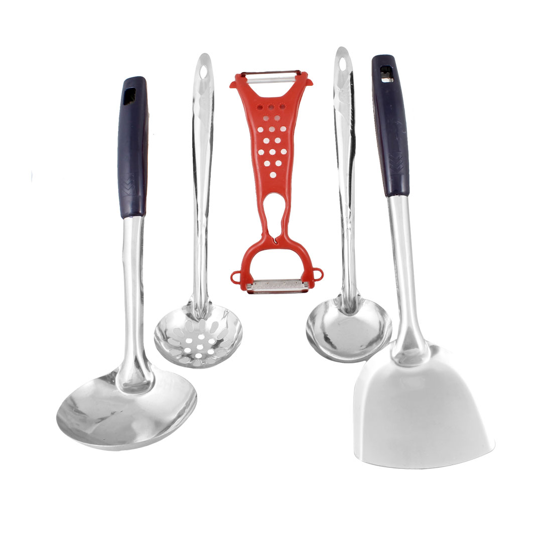Plastic Handle Ladles Spatula Red Fruit Vegetable Peeler Kitchen Ware Set 5 in 1