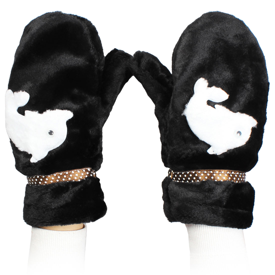 Dolphin Accent Winter Warmer Black Mitten Gloves Pair for Lady