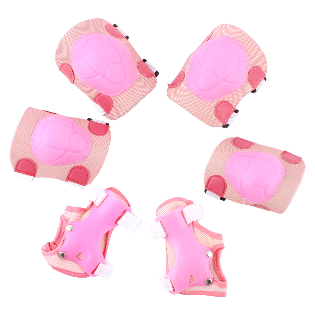Outdoors Cycling Skiing Knee Elbow Pads Guard Wrist Protector Pink 3 Pairs