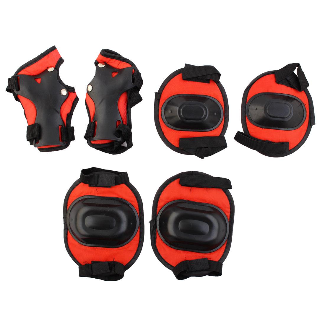 Child Hoop Loop Fastener Red Black Knee Elbow Pads Wrist Protector 3 Pairs