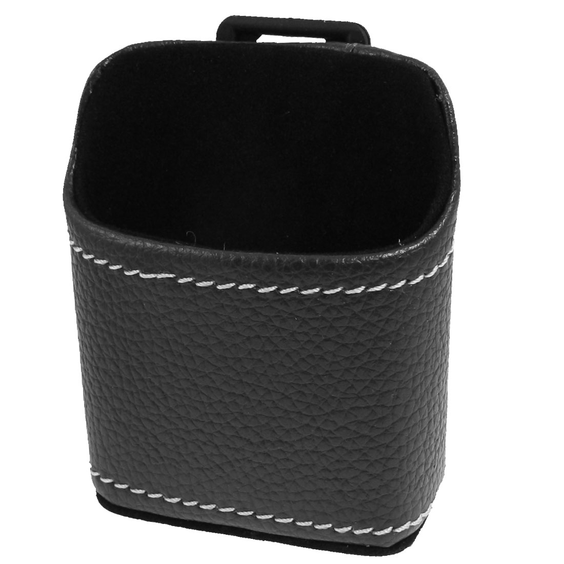 Car Auto Air Vent Black Faux Leather Cell Phone Pouch Holder Bag