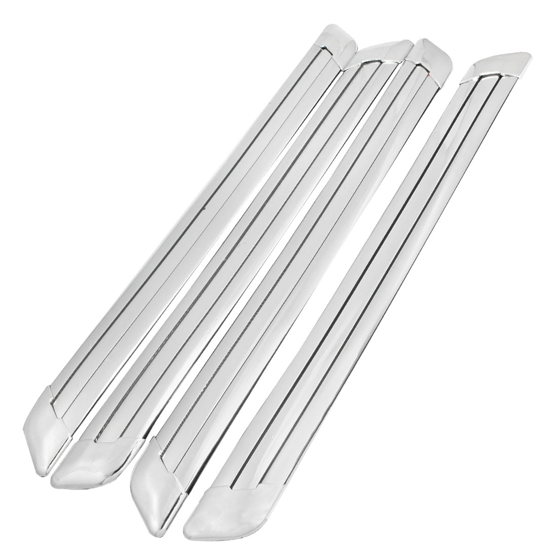 4 Pcs Silver Tone Soft Plastic Adhesive Car Door Bumper Guard Sticker