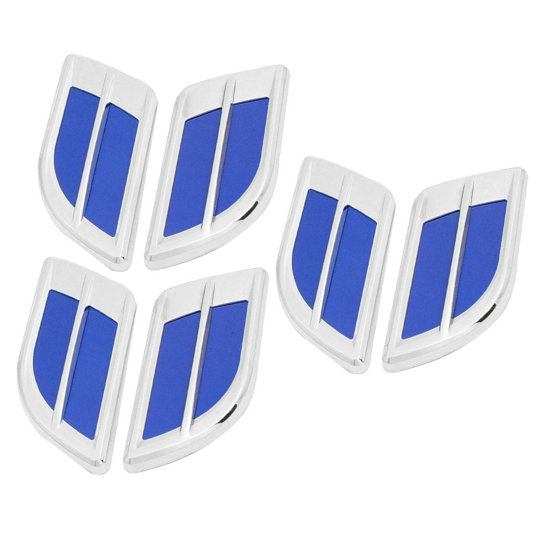 6 Pcs Silver Tone Blue Plastic Car Air Flow Vent Fender Sticker