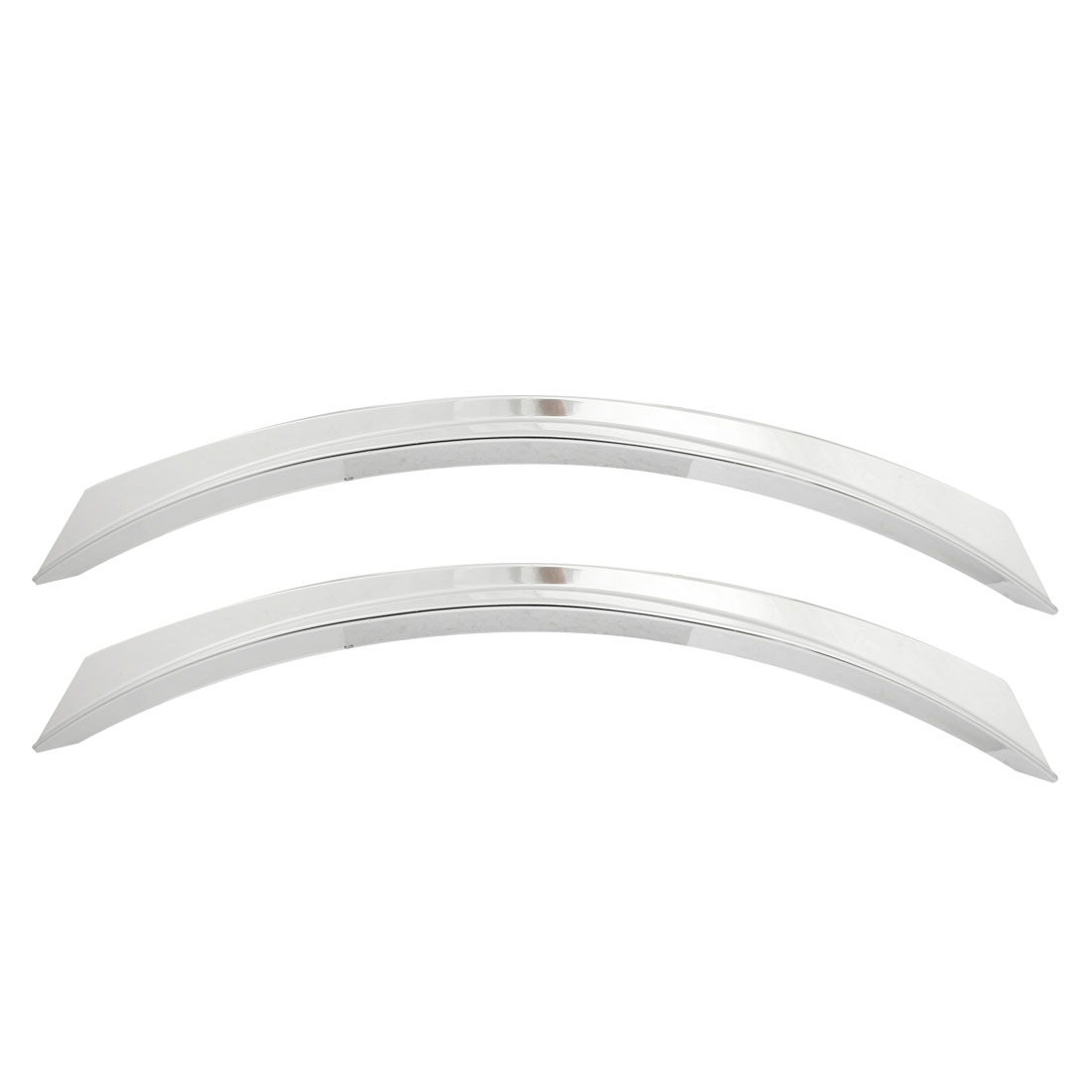 2 Pcs Silver Tone Chrome Plated Plastic Car Decorative Wheel Strip Eyebrow Sticker