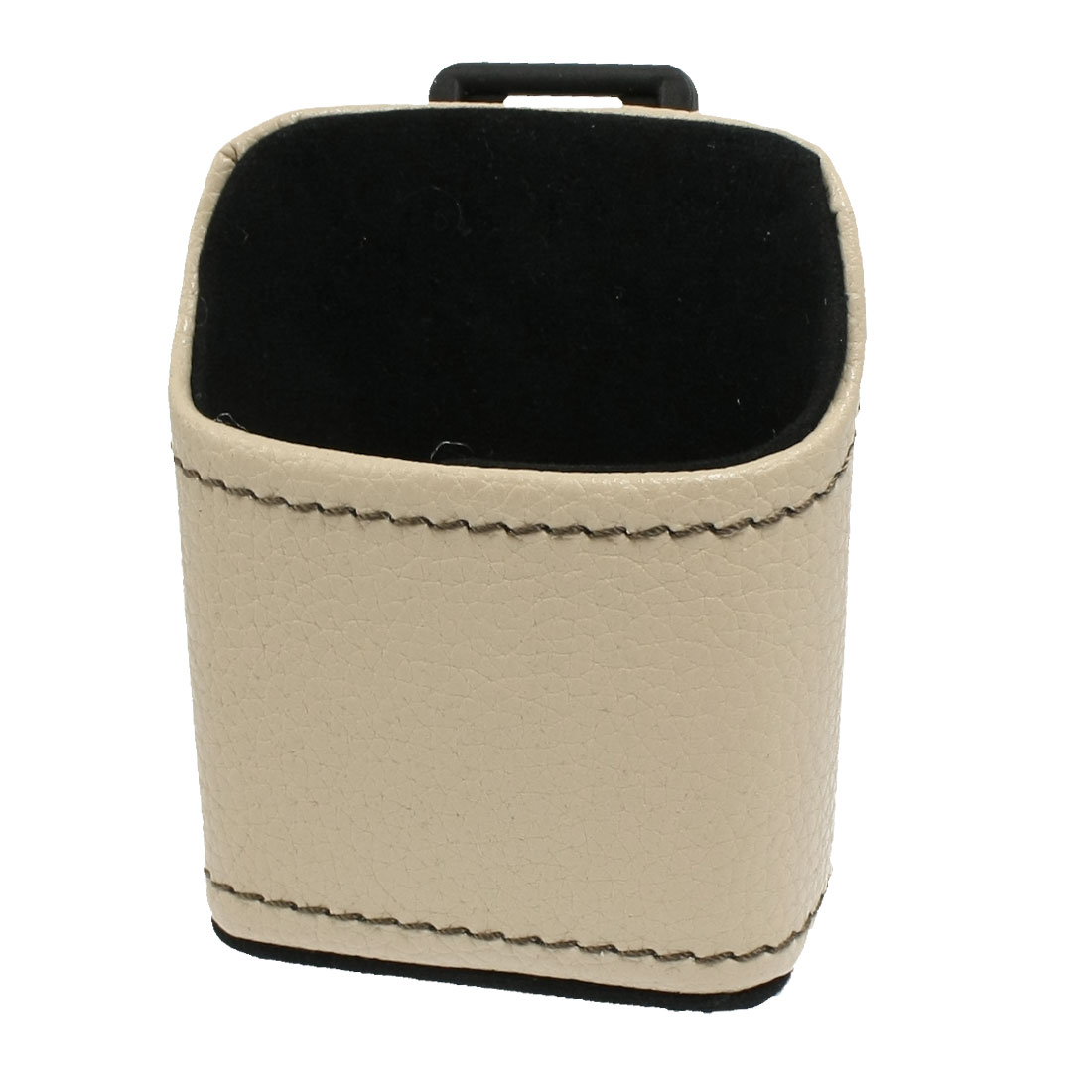 Car Auto Air Vent Beige Faux Leather Cell Phone Pouch Holder Bag