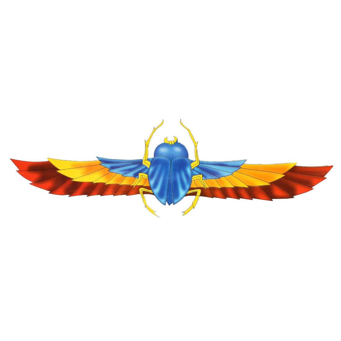 Blue Yellow Cicada Pattern Adhesive 2D Sticker Decal for Car Truck
