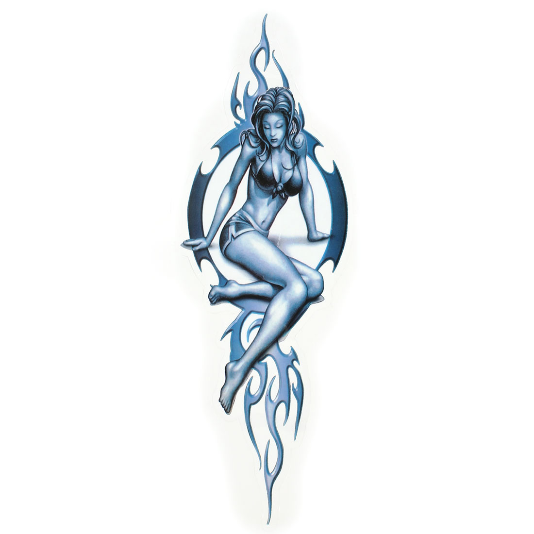 Flame Women Pattern 2D Decal Sticker Steel Blue for Vehicle Auto
