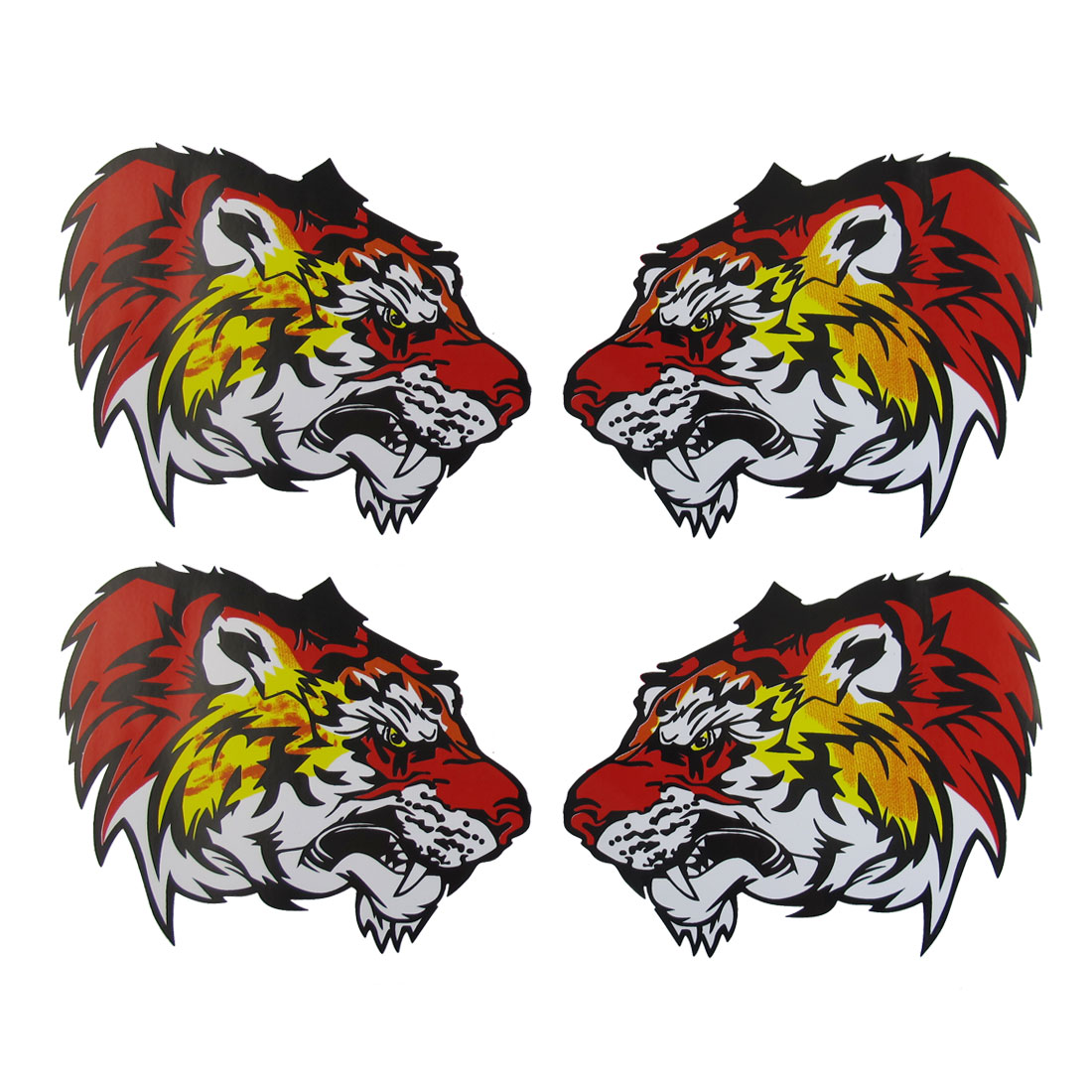 2 Pairs Back Adhesive Red Yellow Tiger Style 2D Sticker for Vehicle Car