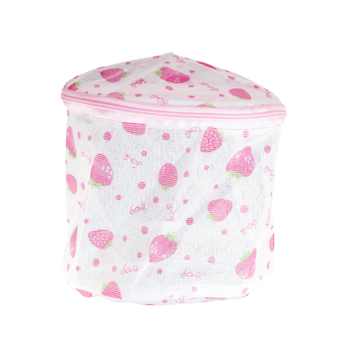 White Pink Strawberry Print Zipper Nylon Laundry Underwear Washing Net