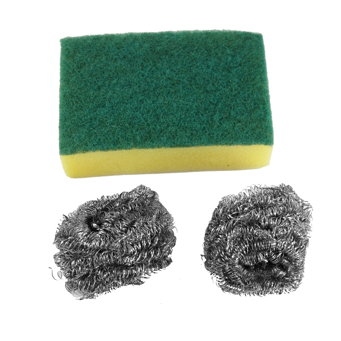 Cleaner Tool Scrub Sponge Pad Yellow Green w 2 Pcs Metal Ball