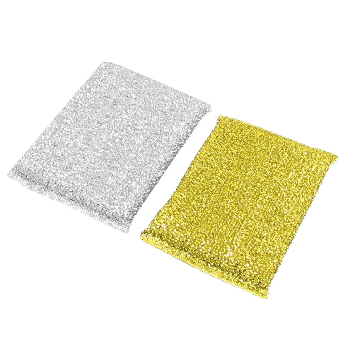 Silver Gold Tone Cotton Blends Dish Pot Cleaner Scrub Pads 2 Pcs
