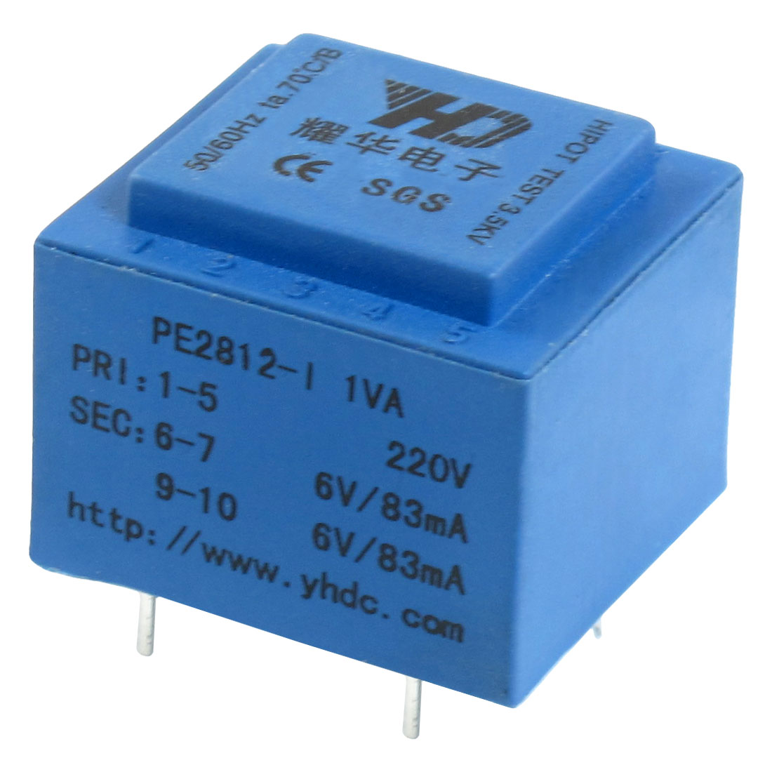 PE2812-1 Epoxy Resin Sealed 6 Pin Encapsulated Transformer 220V