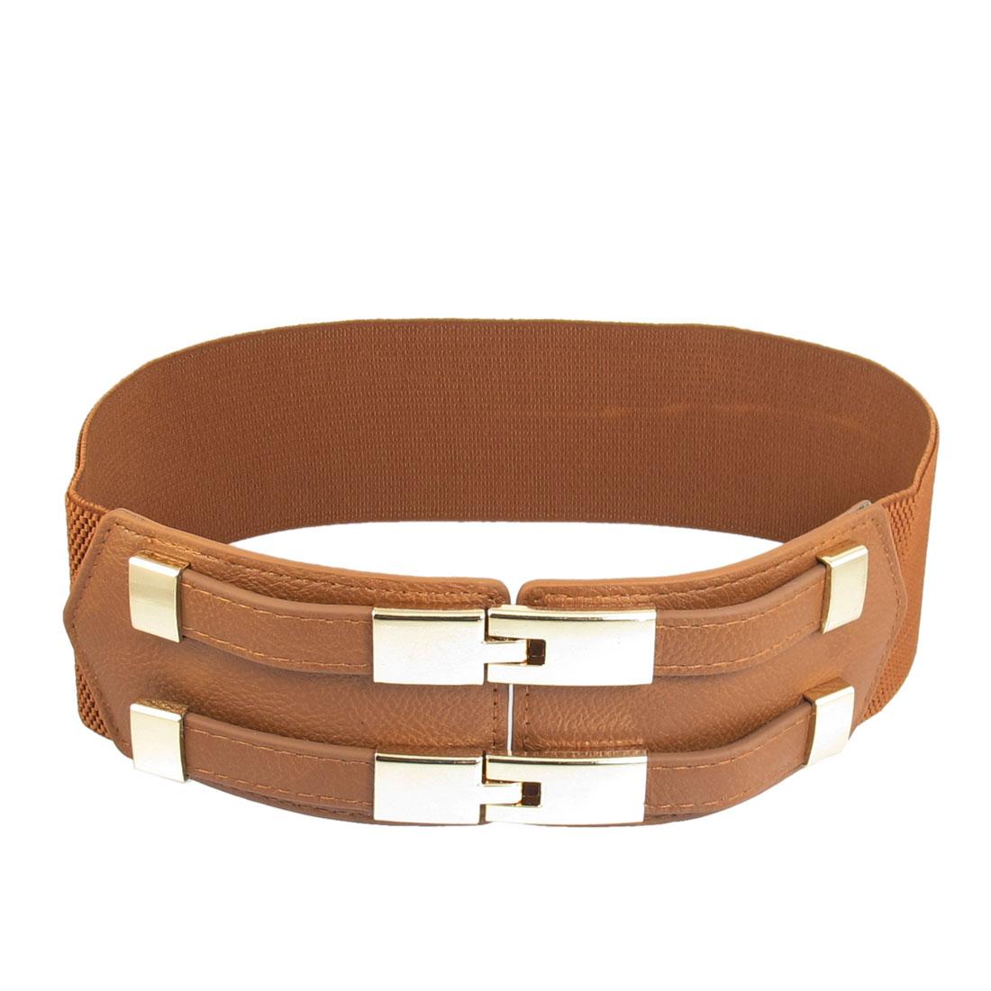 Women Rectangle Shape Interlocking Buckle 60mm Width Elastic Cinch Belt Brown