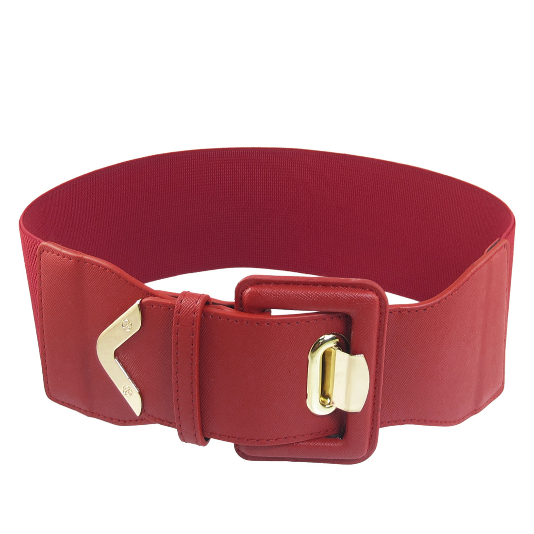 Women Gold Tone Single Prong Red Elastic Cinch High Waistband Belt Band