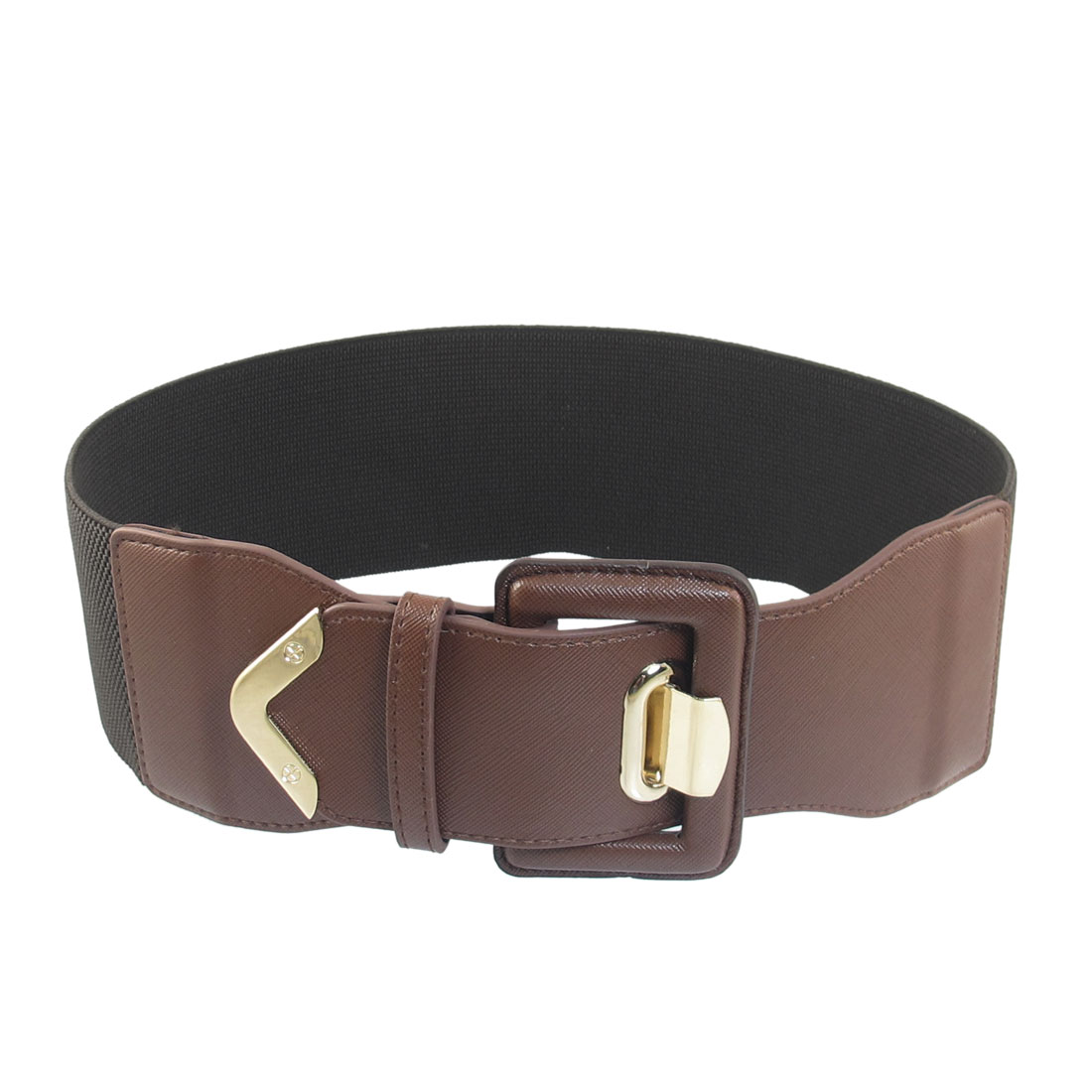 Gold Tone Single Prong Buckle Coffee Color Stretchy Cinch Belt Band for Women