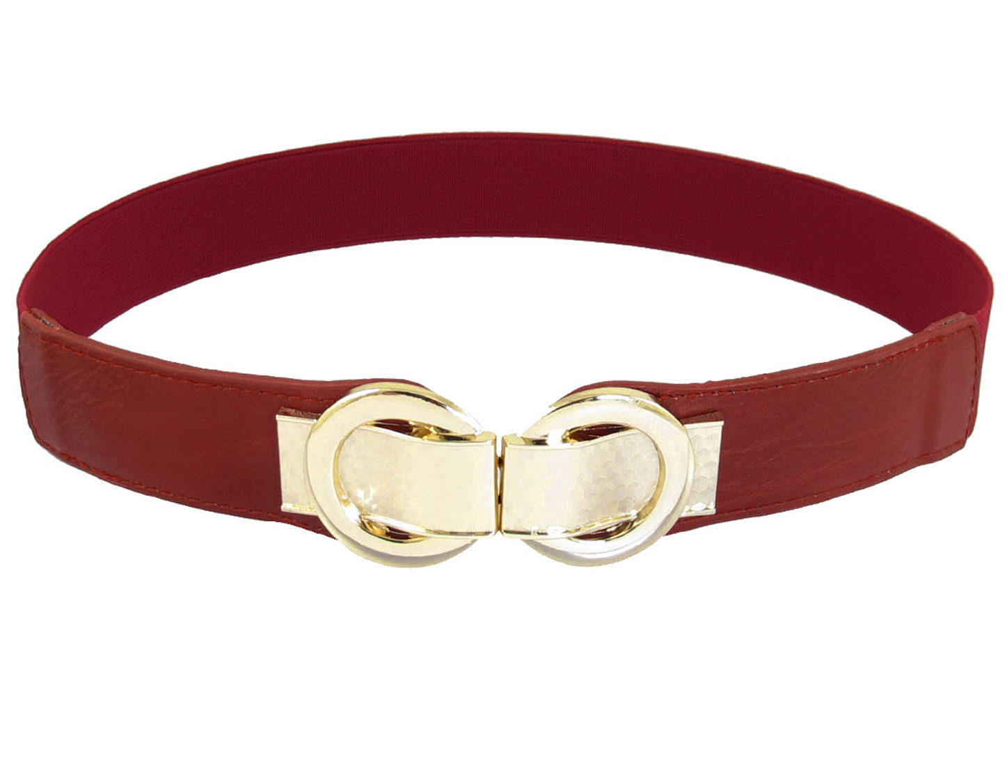 Red Faux Leather Metal Interlock Buckle Elastic Cinch Belt Band