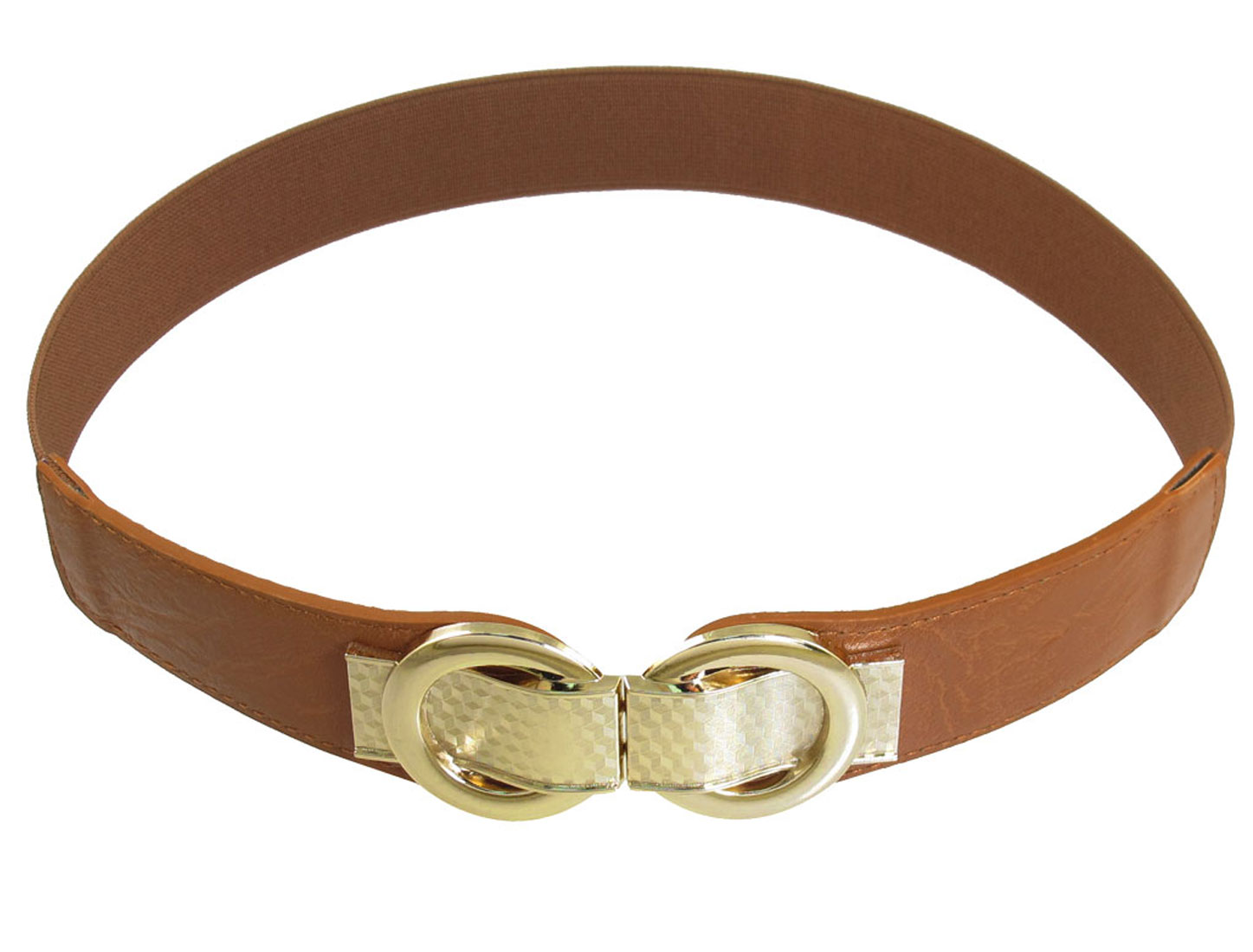 Brown 8 Shaped Faux Leather Interlocking Buckle High Waist Belt for Ladies