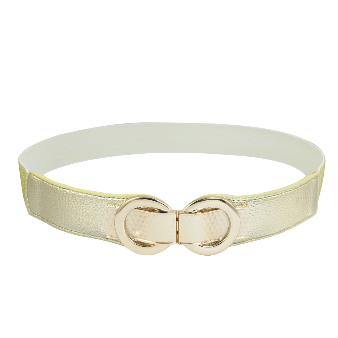 Gold Tone Faux Leather Metal Interlock Buckle Elastic Cinch Waist Belt Band
