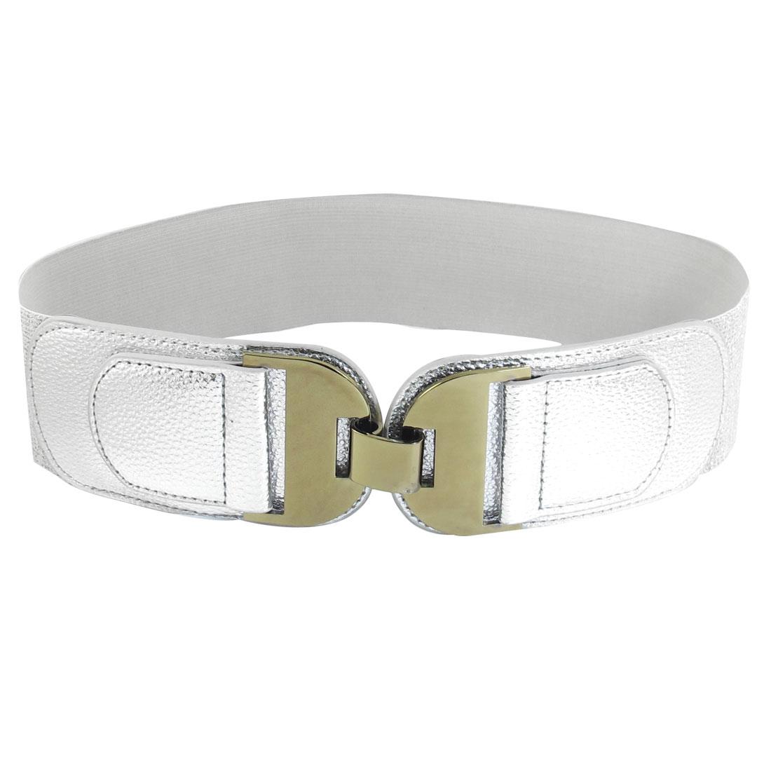 Silver Tone Dual D Shaped Metal Interlocking Buckle Glitter Elastic Cinch Belt