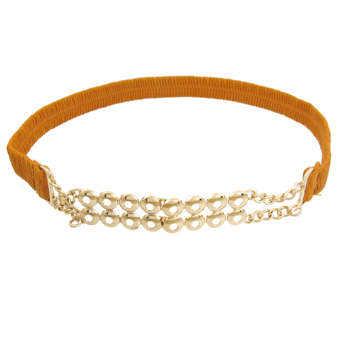Orange Metal Chain Detail Interlocking Buckle Lady Elastic Waistbelt