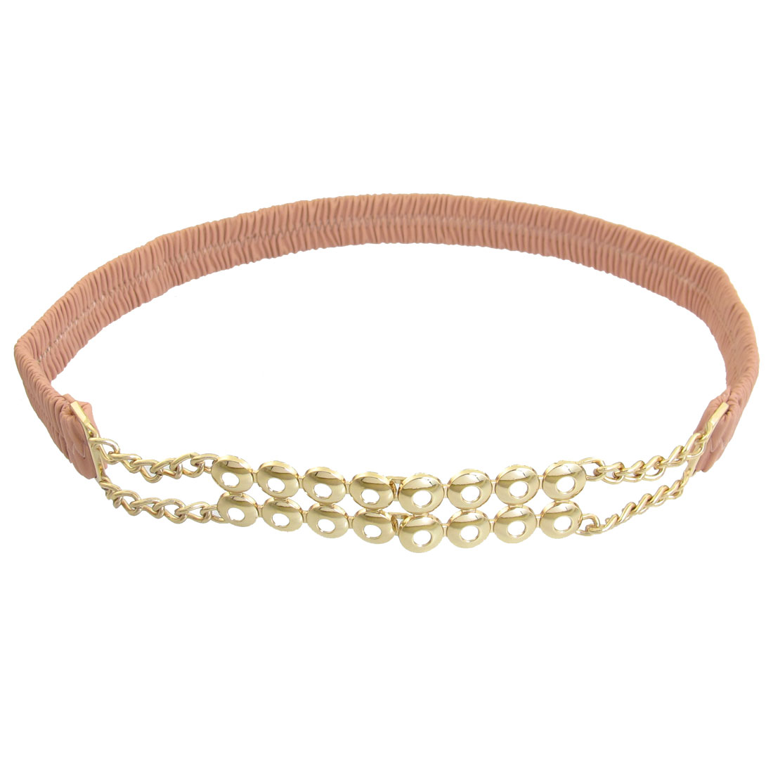 Pink Metal Chain Detail Interlocking Buckle Lady Elastic Waistbelt