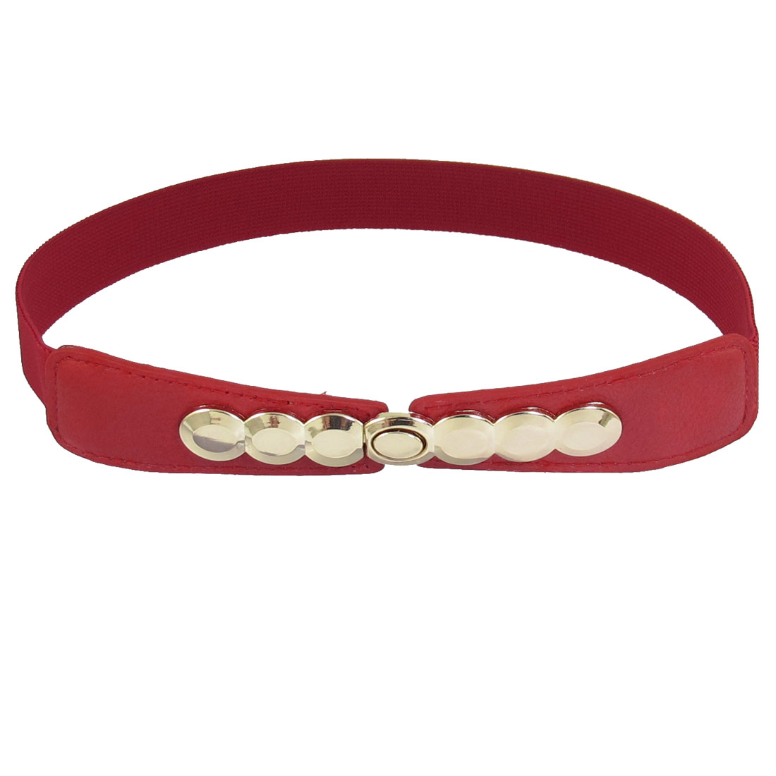 Women Ladies Oval Shape Metal Interlocking Buckle Red Elastic Waistband Belt
