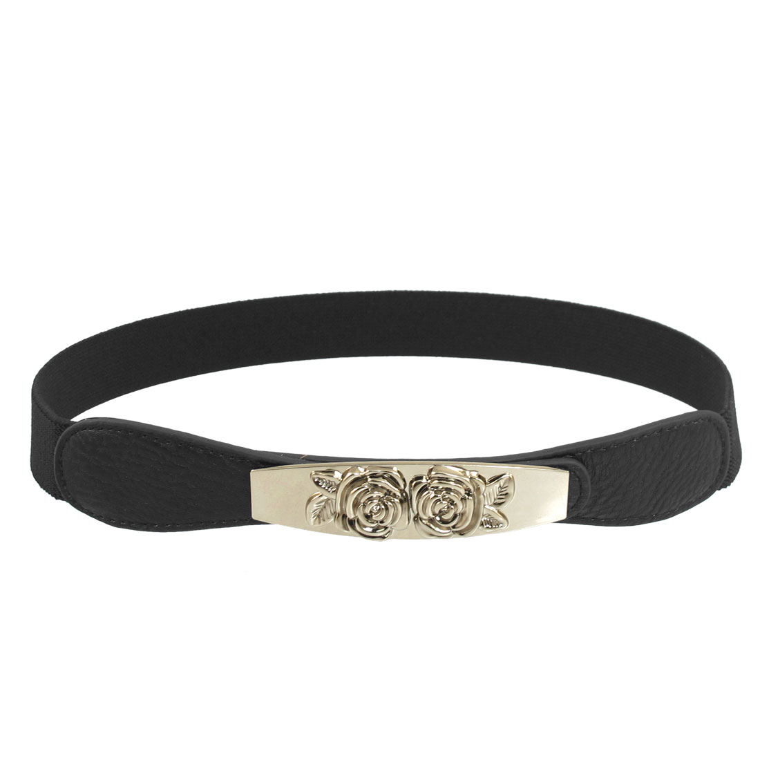 Women Black Dual Floral Accent Hook Buckle Elastic Cinch Belt 26mm Width