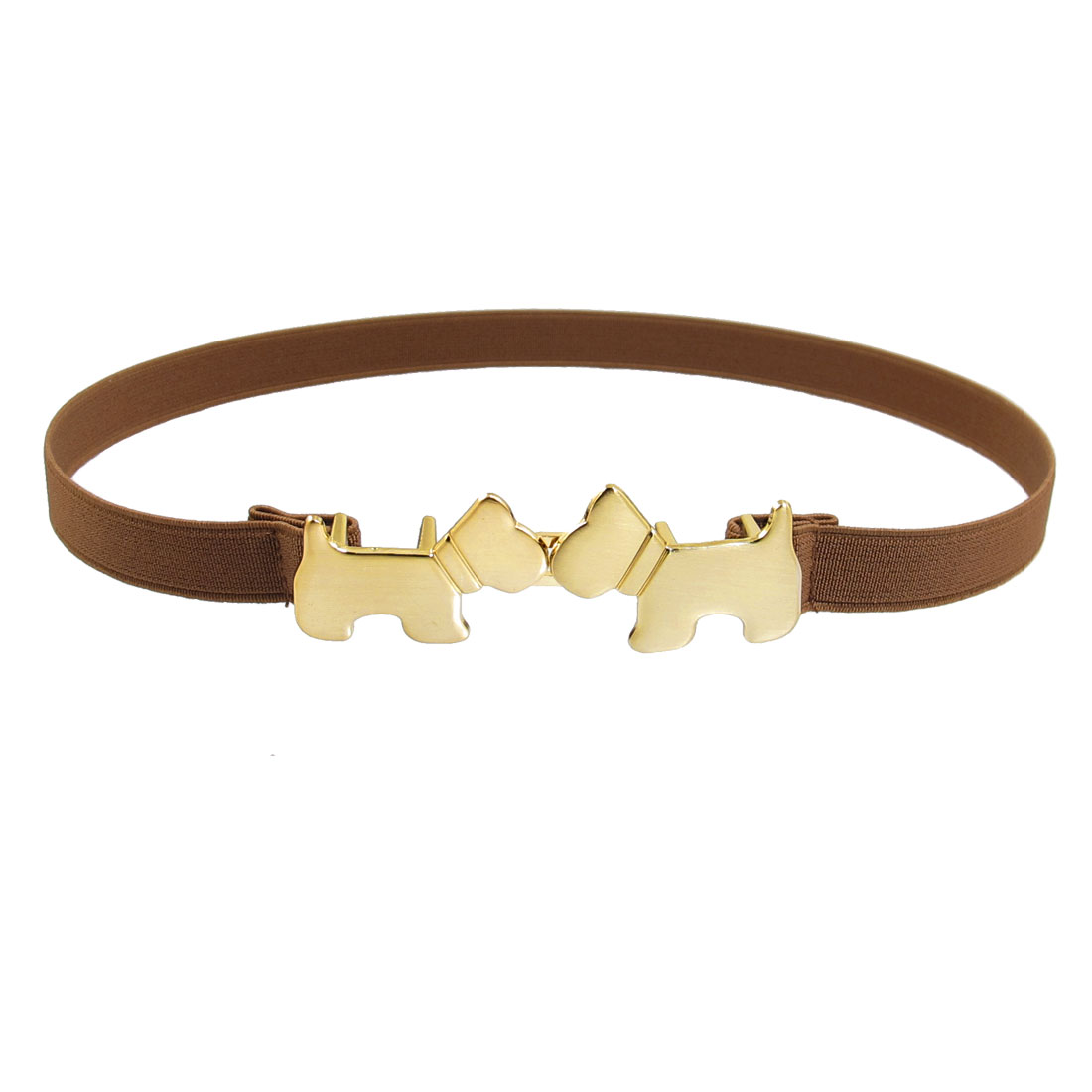 Ladies Brown Metal Dual Puppy Shaped Interlocking Buckle Elastic Waist Belt