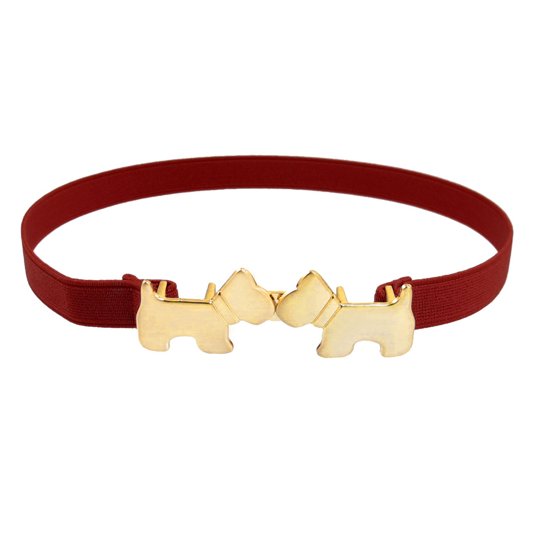 Ladies Metal Dual Puppy Shaped Interlocking Buckle Elastic Waist Belt Red