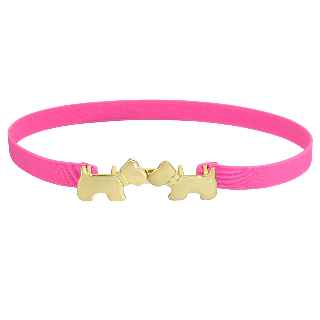 "0.59"" Width Gold Tone Double Pup Shape Buckle Pink Stretchy Waistbelt for Lady"