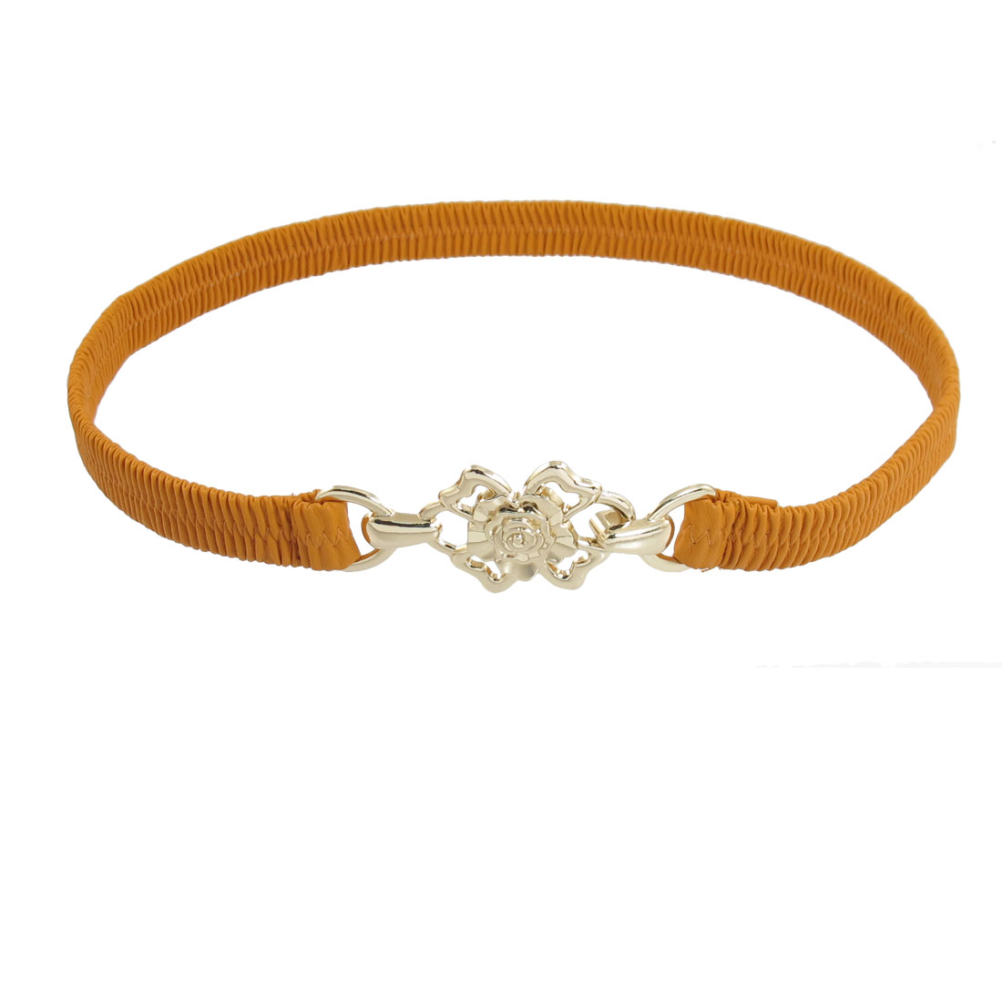 Metal Floral Shaped Buckle Stretched Orange Waist Belt Band 16mm Wide for Women
