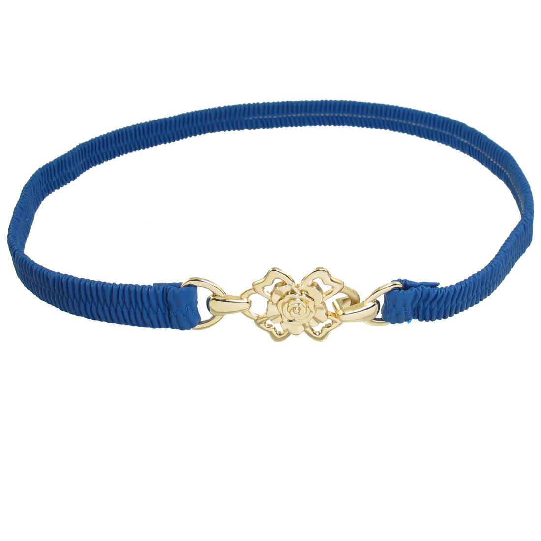Ladies Gold Tone Floral Shaped Detail Interlock Buckle Blue Stretchy Cinch Belt