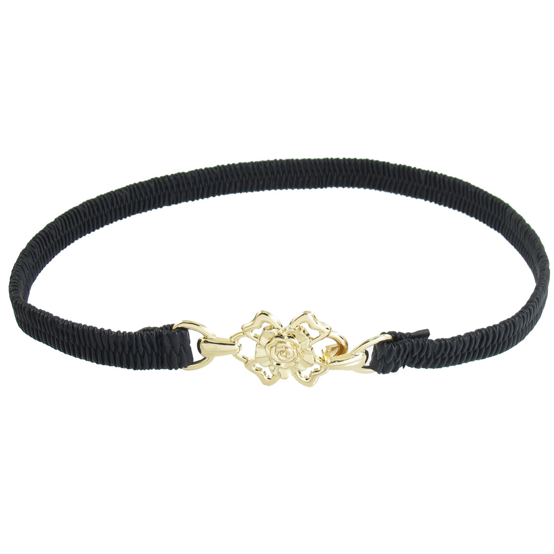 Ladies Gold Tone Flower Shaped Buckle 16mm Width Textured Cinch Belt Black