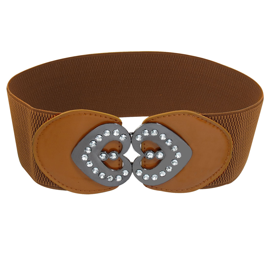 Bling Crystal Detail Double Heart Metal Buckle Stretchy Waist Belt Brown