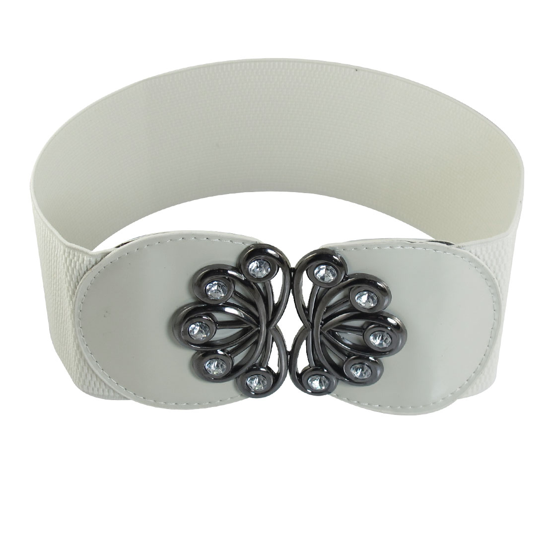 Crystal Detailing Metal Buckle Elastic Waist Belt Band White for Women
