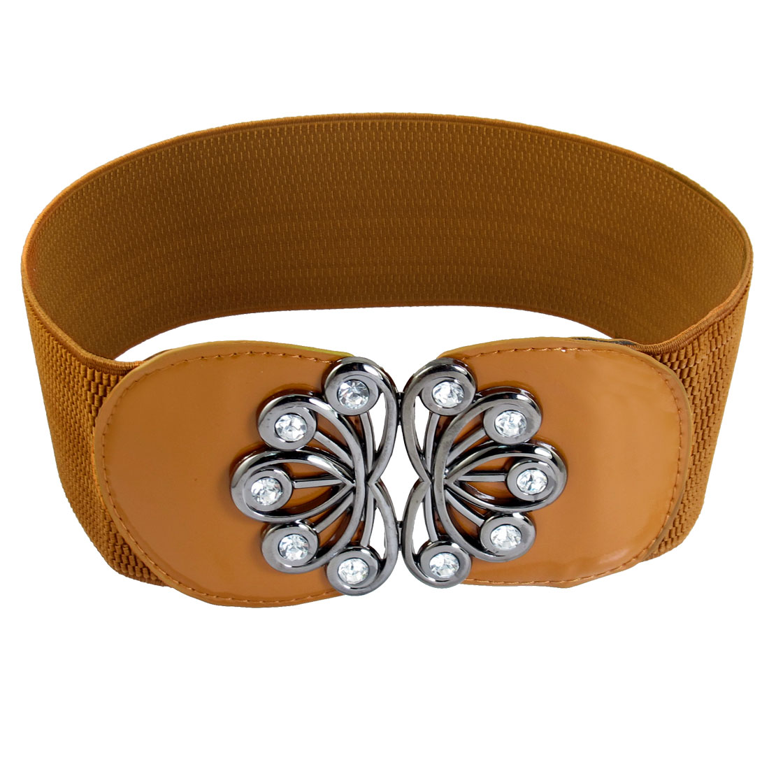 Women Crystal Inlaying Flower Interlocking Buckle Elastic Waist Belt Brown
