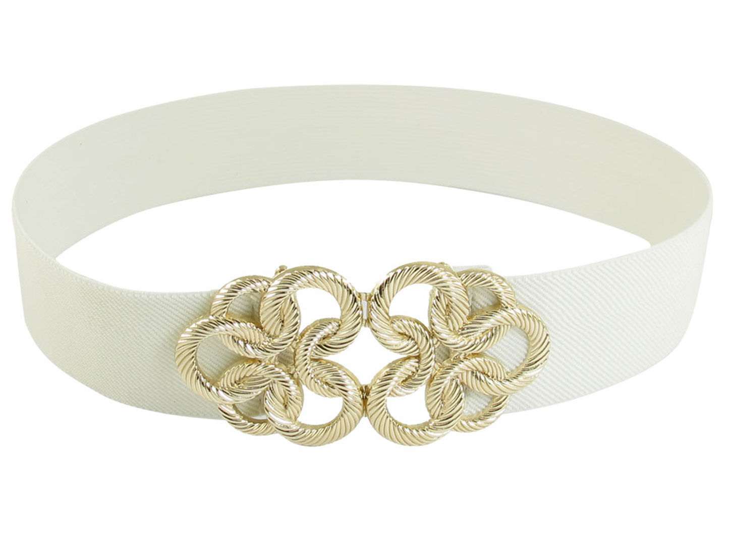 Lady Gold Tone Metal Interlock Buckle White Elastic Waist Cinch Belt Band