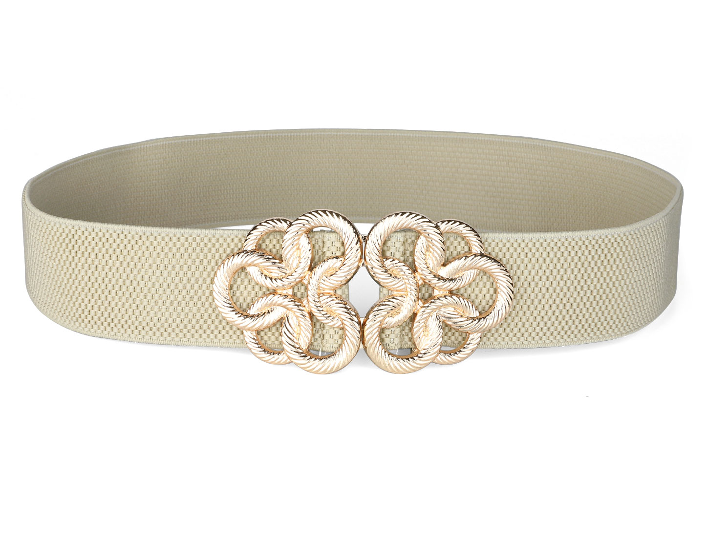 Lady Gold Tone Metal Interlock Buckle Khaki Elastic Waist Cinch Belt Band