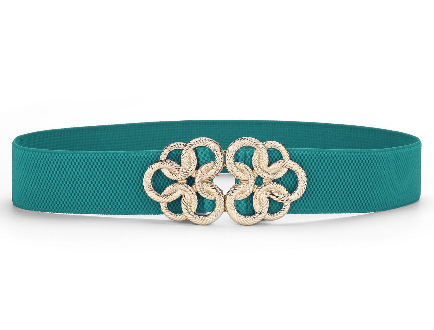 Metal Floral Interlock Buckle Stretch High Waist Belt Cyan for Ladies Woman