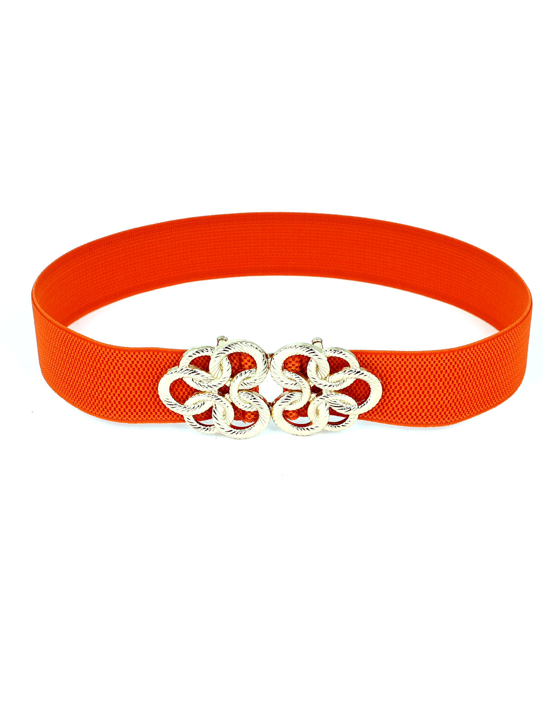 Twisted Circle Flower Buckle Stretch High Waist Belt Orange for Ladies Woman