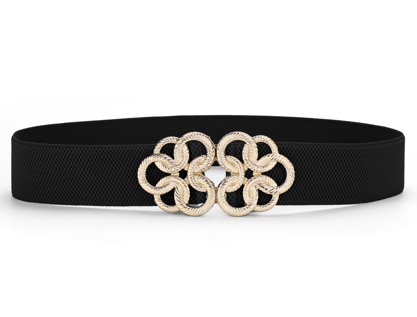Metal Interlock Twisted Circle Flower Buckle Elastic Belt Black for Women Lady