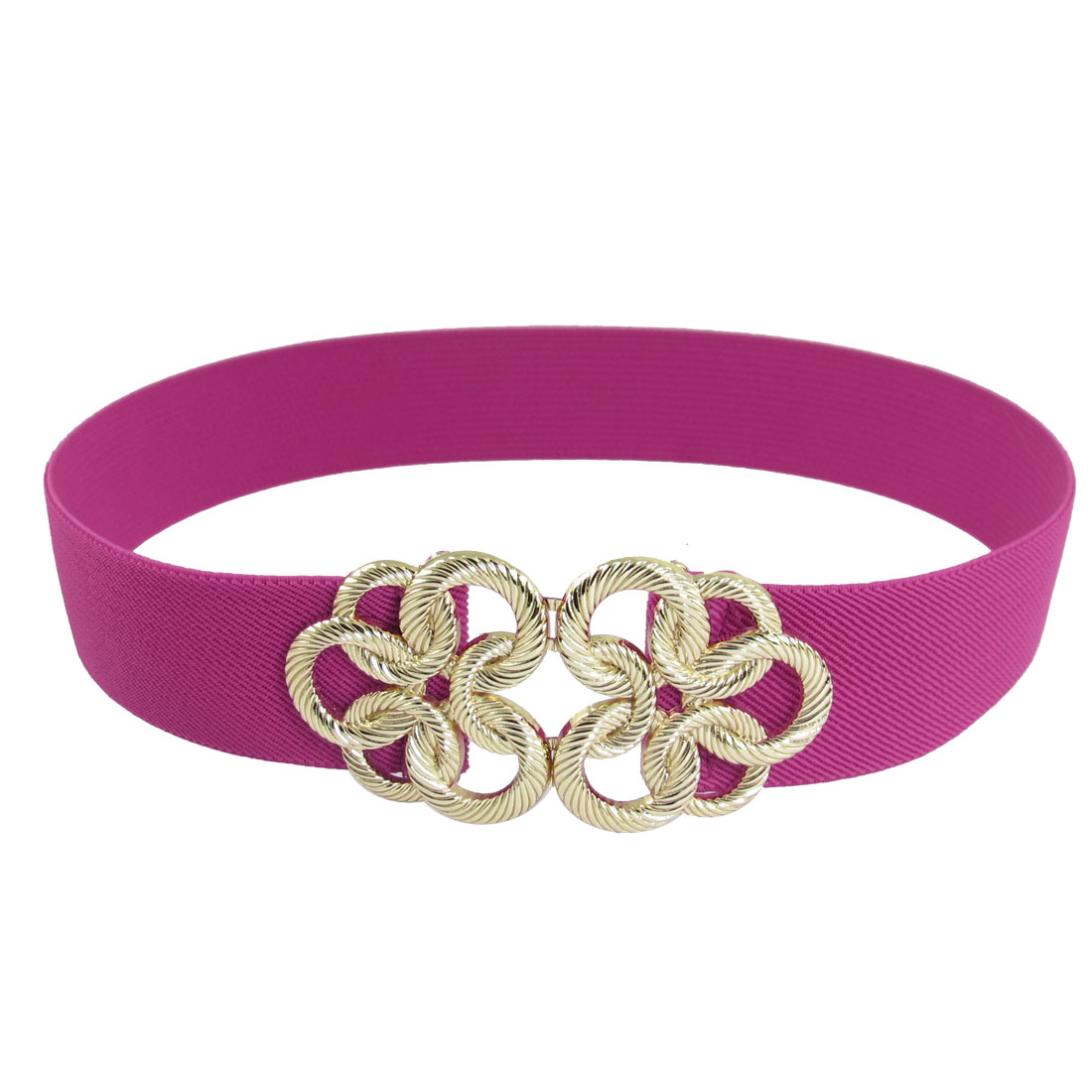 Metal Floral Interlocking Buckle Stretch Belt Band Fuchsia for Ladies Woman