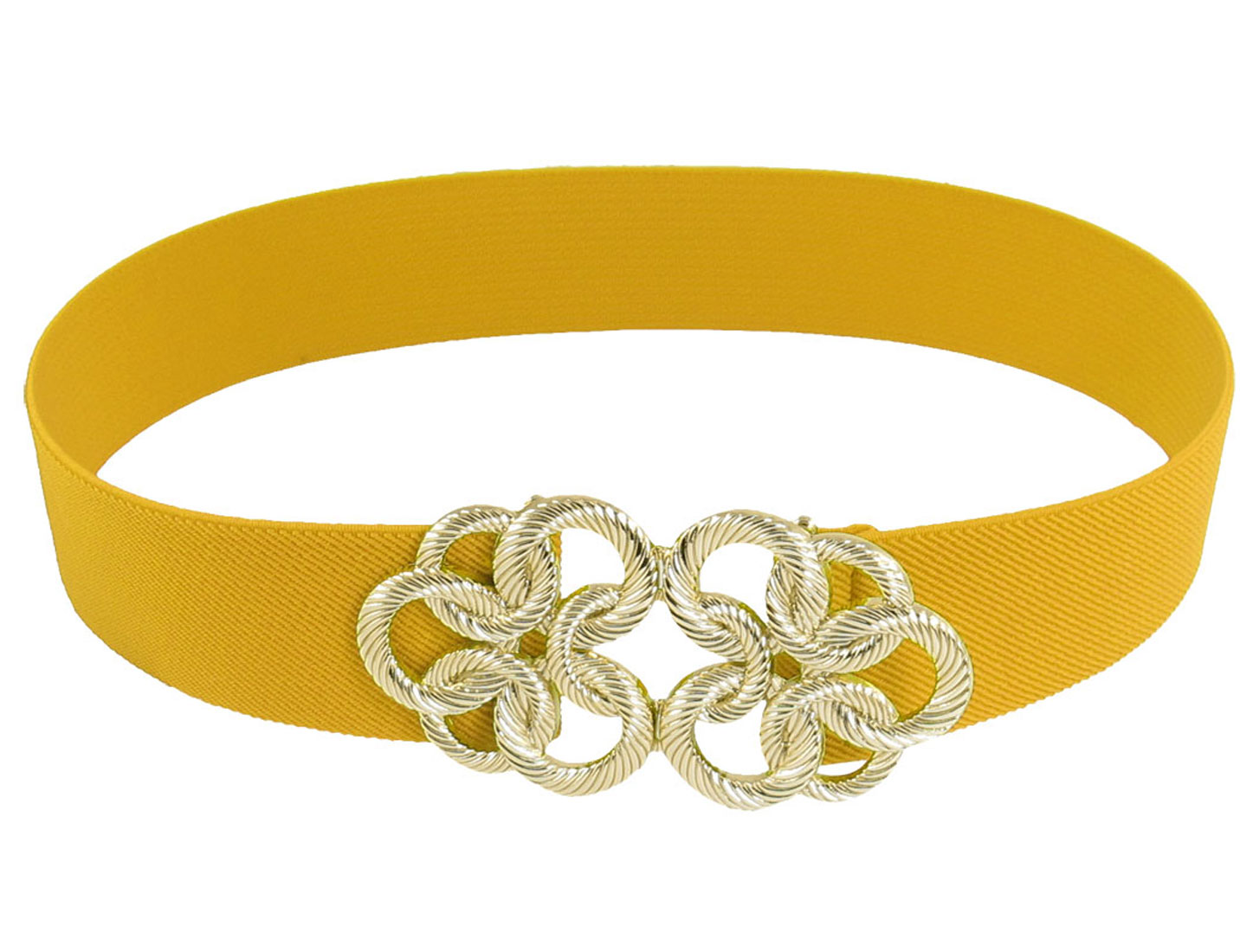 Gold Tone Twisted Circle Flower Buckle Yellow Elastic Waist Cinch Belt Band