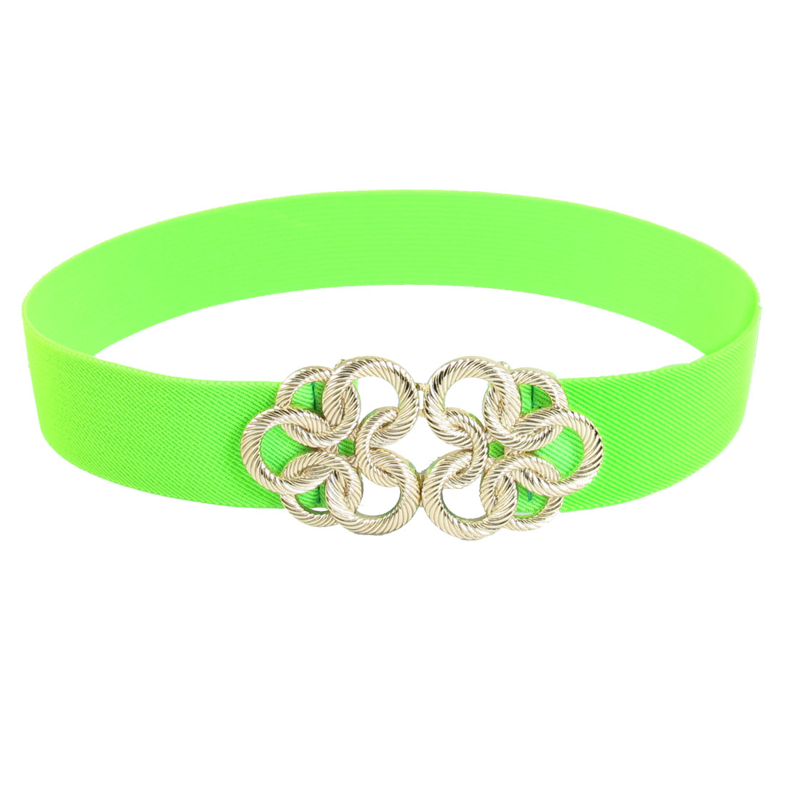 Metal Floral Interlocking Buckle Stretch Waist Belt Green for Ladies Woman