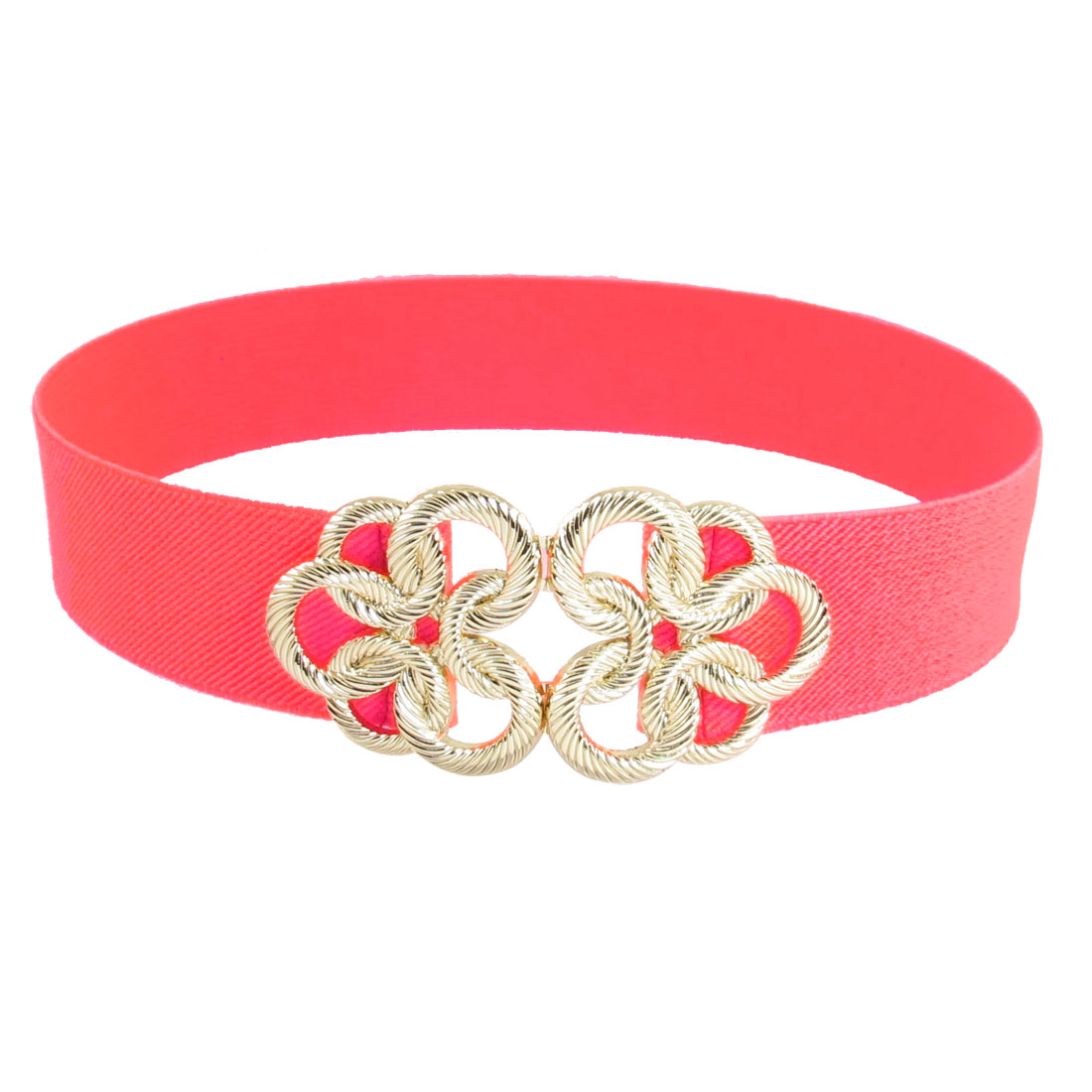 Gold Tone Twisted Circle Flower Buckle Pink Elastic Waist Cinch Belt Band