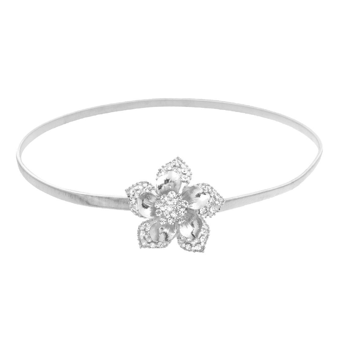 Glittery Rhinestone Detailing Flower Shape Stretchy Waist Chain Silver Tone