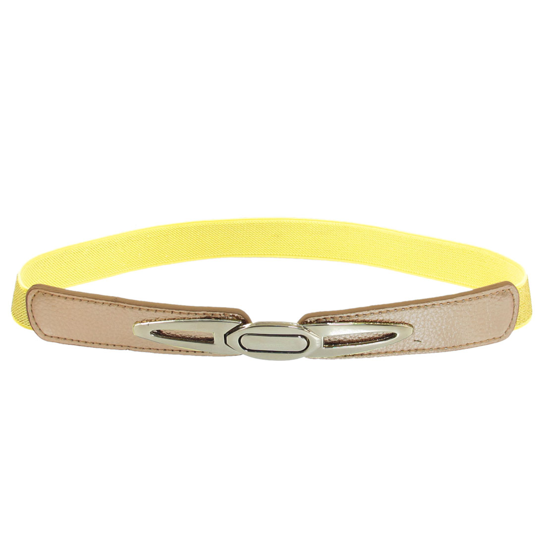 Gold Tone Metal Interlocking Buckle Elastic Slim Cinch Waist Belt for Lady