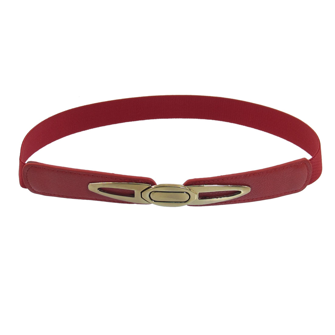 Red Silver Tone Metal Interlocking Buckle Elastic Slim Cinch Waist Belt for Lady