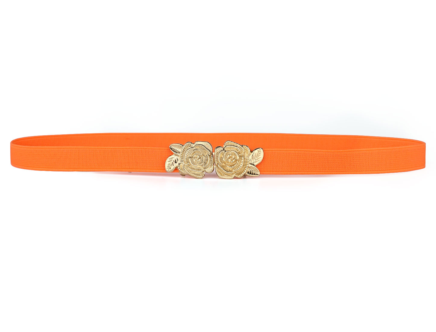 Rose Metal Interlocking Buckle Orange Elastic Waistband Belt for Women Ladies