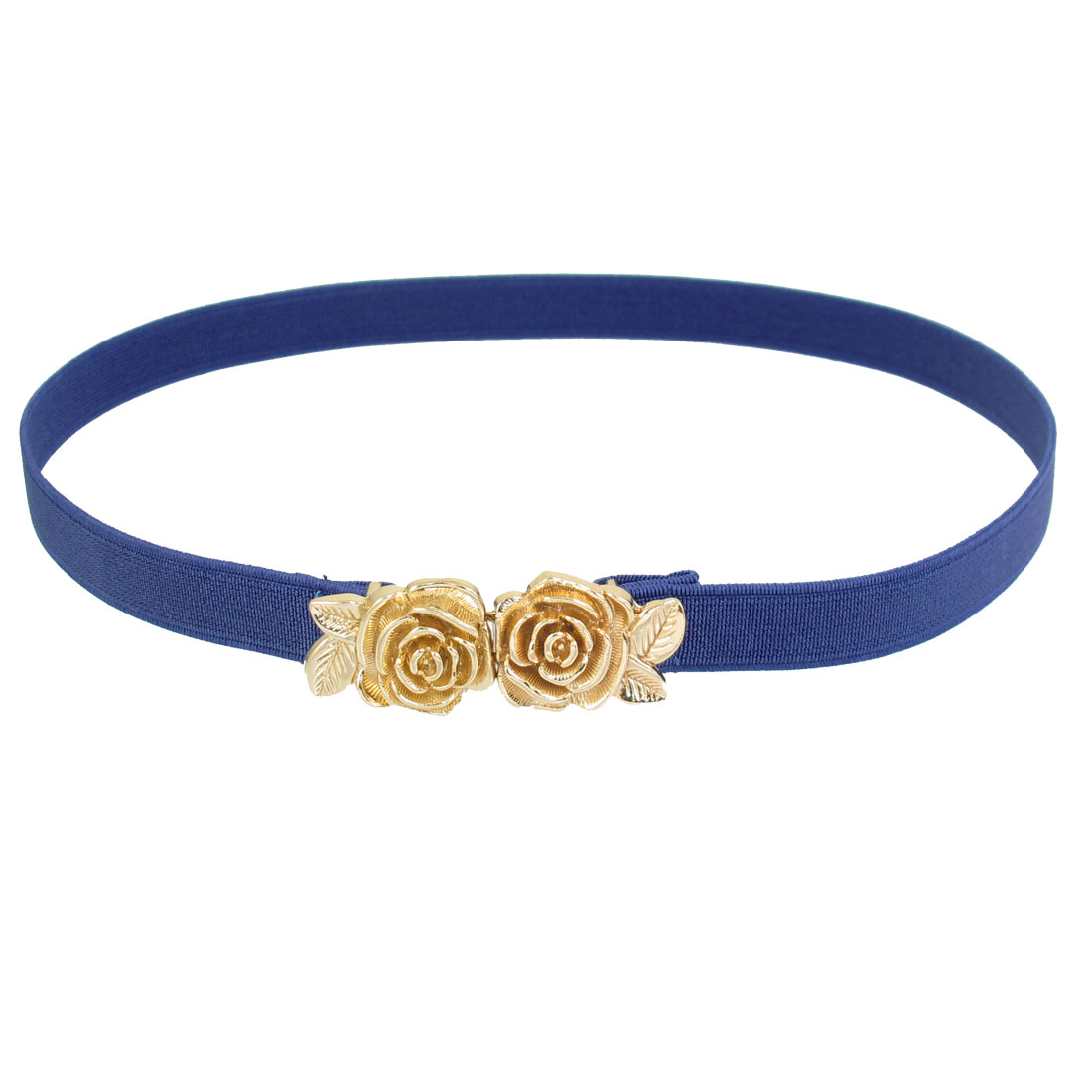 Ladies Dual Rose Gold Tone Metal Interlocking Buckle Elastic Waist Belt Blue
